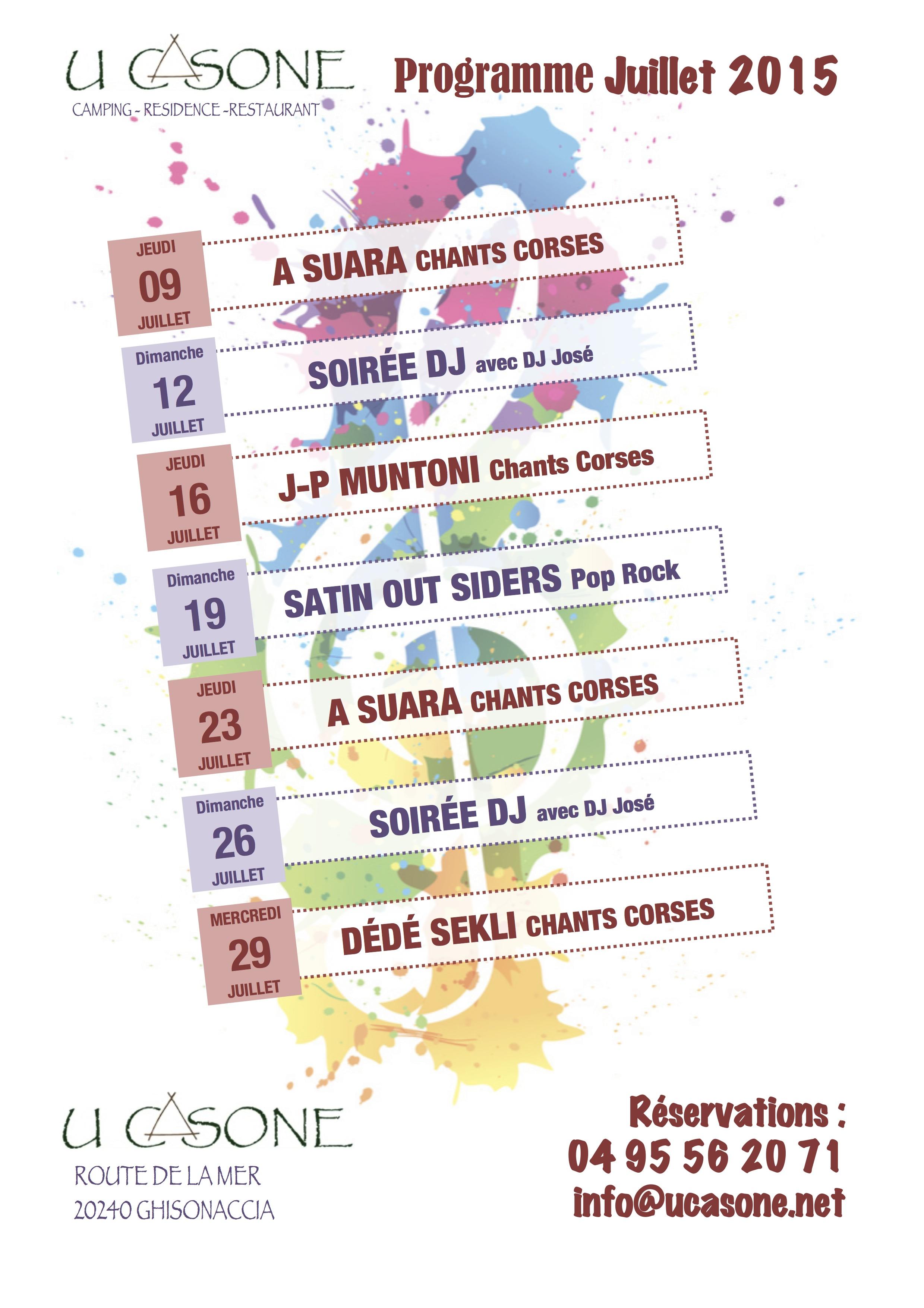 Programme des soirées juillet 2015