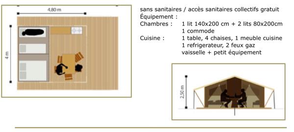 Tente toile et bois / Eco-lodge
