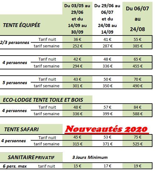 Tarifs Eco-lodge, Bell tent et Tentes équipées 2020
