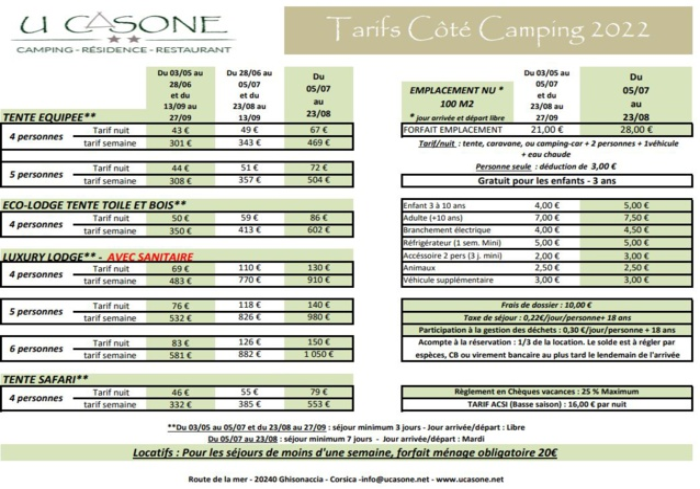Tarifs Camping 2021
