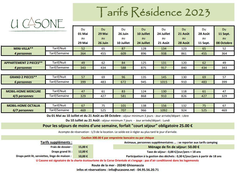 """Les hébergements côté """"Résidence"""": Appartements, Mini-Villas, Chalets, Mobil-Home"""