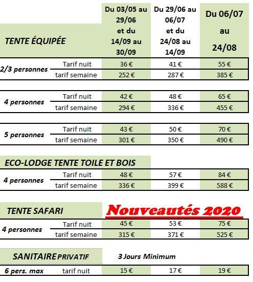 Tarifs Eco-lodge, Tente Safari et Tentes équipées 2021